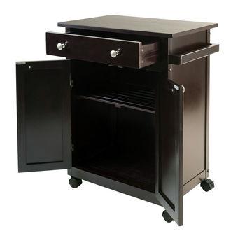 Winsome Wood WS-92626, Savannah Kitchen Cart, Espresso, 26.89'' W x 17.72'' D x 34.02'' H