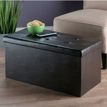 """Winsome Wood Ashford Collection Faux Leather Ottoman with Storage in Espresso, 29-29/32"""" W x 14-4/5"""" D x 15"""" H"""