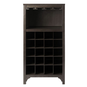 Winsome Wood WS-92729, Ancona Modular Wine Cabinet with Glass Rack & 20-Bottle, Dark Espresso, 19.09'' W x 12.6'' D x 37.52'' H