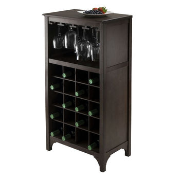 Winsome Wood WS 92729, Ancona Modular Wine Cabinet With Glass Rack U0026  20 Bottle, Dark Espresso, 19.09u0027u0027 W X 12.6u0027u0027 D X.