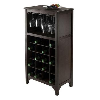 Winsome Wood WS-92729, Ancona Modular Wine Cabinet with Glass Rack & 20-Bottle, Dark Espresso, 19.09'' W x 12.6'' D x 37.52'' H