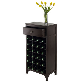 Winsome Wood WS-92738, Ancona Modular Wine Cabinet with One Drawer & 24-Bottle, Dark Espresso, 19.09'' W x 12.6'' D x 37.52'' H