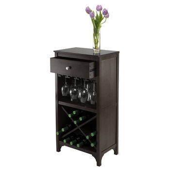 Winsome Wood WS-92745, Ancona Modular Wine Cabinet with One Drawer, Glass Rack, X Shelf, Dark Espresso, 19.09'' W x 12.6'' D x 37.52'' H