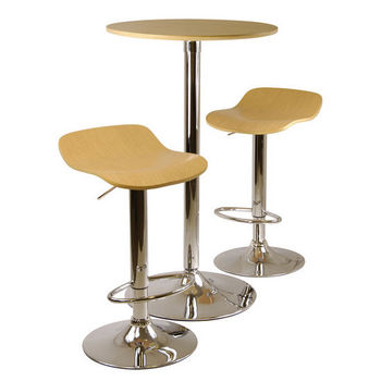 winsome wood kallie 3pc pub table and stools set natural
