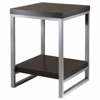 Winsome Wood Jared End Table with Enamel Steel Tube Legs with Black Finish