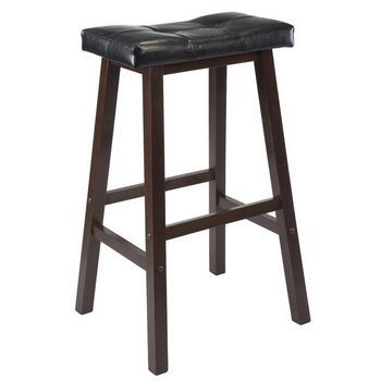 "Winsome Wood 29"" Cushion Saddle Seat Stool, Black Faux Leather"