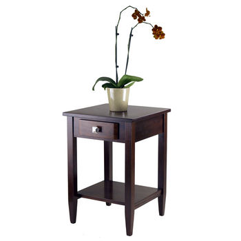 Winsome Wood WS-94118, Richmond End Table Tapered Leg, Antique Walnut, 17.95'' W x 18.68'' D x 25.98'' H