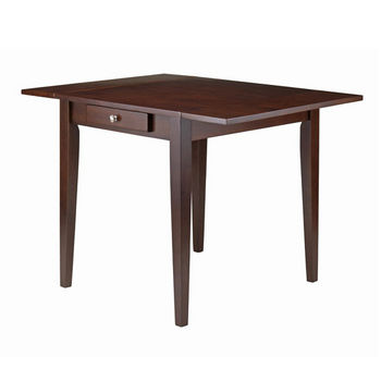 Winsome Wood Hamilton Double Drop Leaf Dining Table in Antique Walnut