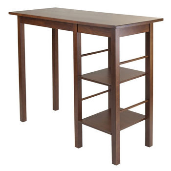 Winsome Wood Egan Breakfast Table with 2 Side Shelves in Antique Walnut