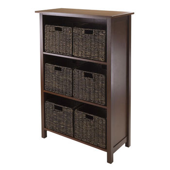 Winsome Wood Granville 7pc Storage Shelf, 3-section with 6 Foldable Baskets in Walnut / Chocolate
