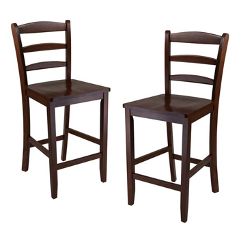 "Winsome Wood 24"" Counter Ladder Back Stool, Set of 2"