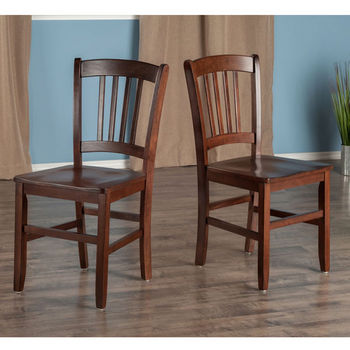 """Winsome Wood Madison Collection 2-Piece Set Slat Back Chairs in Walnut, 17-11/64"""" W x 19-19/64"""" D x 34-11/16"""" H"""