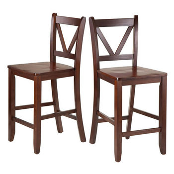 "Winsome Wood Victor 2-pc 24"" V Back Counter Stools in Walnut"