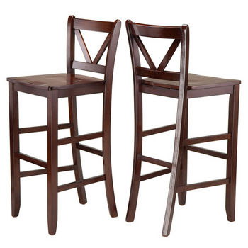 "Winsome Wood Victor 2-pc 29"" V Back Bar Stools in Walnut"