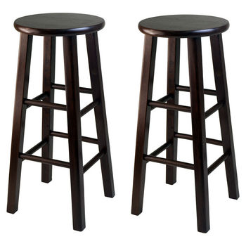 "Winsome Wood WS-94260, Square Leg, 29"" Bar Height Stools, Set of 2, Antique Walnut, 13.19'' W x 13.19'' D x 29.13'' H"