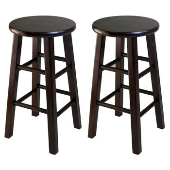 """Winsome Wood WS-94264, Square Leg, 24"""" Counter Height Stools, Set of 2, Antique Walnut, 13.39'' W x 13.39'' D x 23.62'' H"""