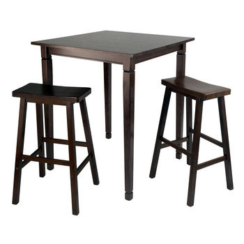 Winsome Wood WS-94300, 3-Piece Kingsgate High/Pub Dining Table with Saddle Stool, Antique Walnut, 33.8'' W x 33.8'' D x 38.9'' H