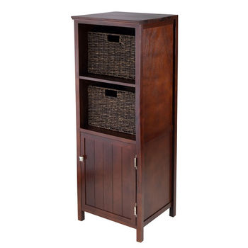 Winsome Wood 3pc Brooke Jelly Cupboard with 2 Baskets in Antique Walnut