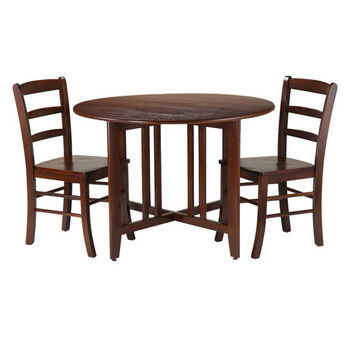 Winsome Wood Alamo 3-Pc Round Drop Leaf Table with 2 Ladder Back Chairs in Walnut