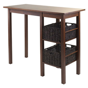 Winsome Wood Egan 3-Pc Breakfast Table with 2 Baskets Set in Antique Walnut / Chocolate