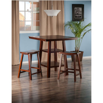 "Winsome Wood Orlando Collection 3-Piece Set High Table, 2 Shelves with 2 Saddle Seat Stools in Walnut, 33-7/8"" W x 33-7/8"" D x 36-1/16"" H"