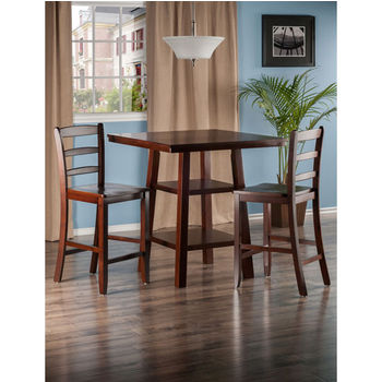 """Winsome Wood Orlando Collection 3-Piece Set High Table, 2 Shelves with 2 Ladder Back Stools in Walnut, 33-7/8"""" W x 33-7/8"""" D x 36-1/16"""" H"""