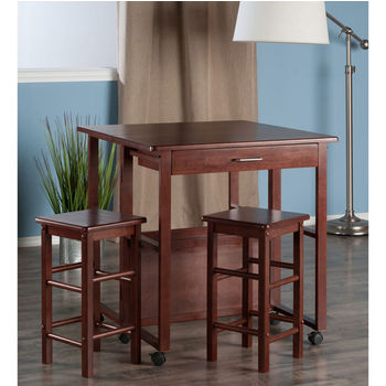 """Winsome Wood Fremont Collection 3-Piece Space Saver Set in Walnut, 30-5/8"""" W x 31-37/64"""" D x 31-47/64"""" H"""
