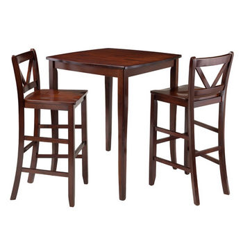 Winsome Wood Inglewood 3-Pc High Table with 2 Bar V-Back Stools in Walnut, 33-7/8''W x 33-7/8''D x 38-7/8''H