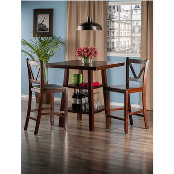 """Winsome Wood Orlando Collection 3-Piece Set High Table, 2 Shelves with 2 V-Back Counter Stools in Walnut, 33-7/8"""" W x 33-7/8"""" D x 36-1/16"""" H"""