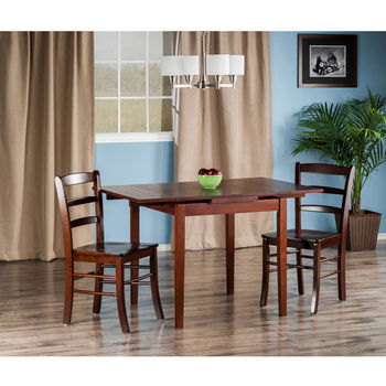 "Winsome Wood Pulman Collection 3-Piece Set Extension Table with 2 Benjamin Ladder Back Chairs in Walnut, 48-1/32"" W x 29-59/64"" D x 29-19/64"" H"