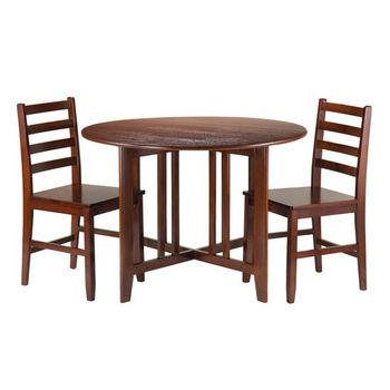 Winsome Wood Alamo 3-Pc Round Drop Leaf Table with 2 Hamilton Ladder Back Chairs in Walnut