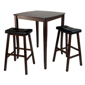 Winsome Wood WS-94360, 3-Piece Inglewood High/Pub Dining Table with Cushioned Saddle Stool, Antique Walnut, 33.8'' W x 33.8'' D x 38.9'' H
