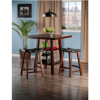 "Winsome Wood Orlando Collection 3-Piece Set High Table, 2 Shelves with 2 Cushion Seat Stools in Walnut, 33-7/8"" W x 33-7/8"" D x 36-1/16"" H"
