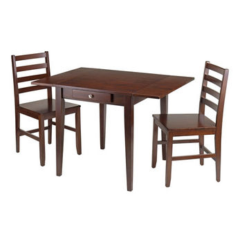 Winsome Wood Hamilton 3-Pc Drop Leaf Dining Table with 2 Ladder Back Chairs in Antique Walnut