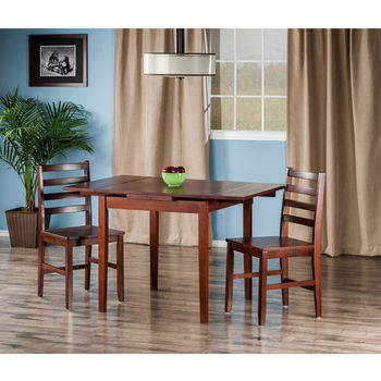 "Winsome Wood Pulman Collection 3-Piece Set Extension Table with 2 Hamilton Ladder Back Chairs in Walnut, 48-1/32"" W x 29-59/64"" D x 29-19/64"" H"
