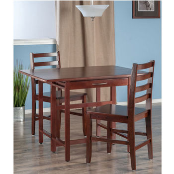 "Winsome Wood Taylor Collection 3-Piece Set Drop Leaf Table w/ Hamilton Chairs in Walnut, 41-47/64"" W x 30-1/2"" D x 29-1/8"" H"