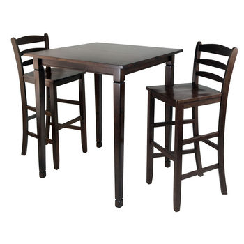 Winsome Wood WS-94369, 3-Piece Kingsgate High/Pub Dining Table with Ladder Back High Chair, Antique Walnut, 33.8'' W x 33.8'' D x 38.9'' H
