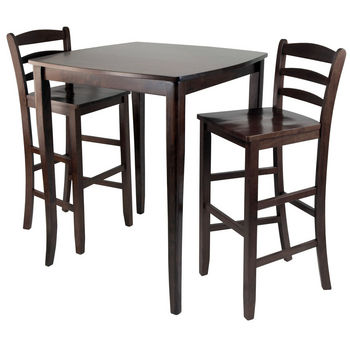 Winsome Wood WS-94379, 3-Piece Inglewood High/Pub Dining Table with Ladder Back Stool, Antique Walnut, 33.8'' W x 33.8'' D x 38.9'' H