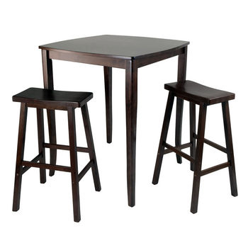 Winsome Wood WS-94380, 3-Piece Inglewood High/Pub Dining Table with Saddle Stool, Antique Walnut, 33.8'' W x 33.8'' D x 38.9'' H