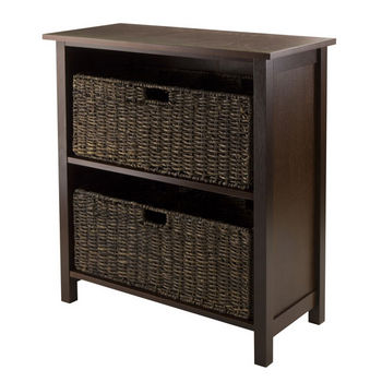 Winsome Wood Granville 3-Pc Storage Shelf with 2 Foldable Baskets in Antique Walnut