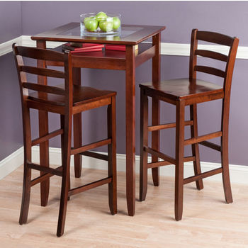 """Winsome Wood Halo Collection 3-Piece Pub Table Set with 2 Ladder Back Stools in Walnut, 25-19/32"""" W x 25-19/32"""" D x 42-1/8"""" H"""