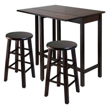 Winsome Wood WS-94394, Lynnwood Drop Leaf Island Table with 2 Square Legs Stool, Antique Walnut, 39.37'' W x 30'' D x 35.43'' H