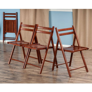 """Winsome Wood Robin Collection 4-Piece Folding Chair Set in Walnut, 17-41/64"""" W x 20-7/64"""" D x 32-9/32"""" H"""