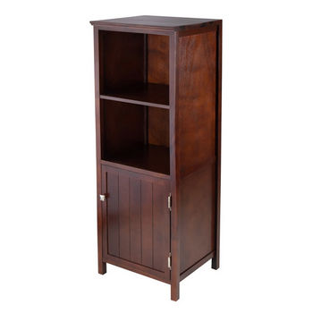 Winsome Wood Brooke Jelly Cupboard with 2 Shelves and Door in Antique Walnut