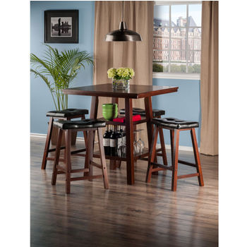 "Winsome Wood Orlando Collection 3-Piece Set High Table, 2 Shelves with 4 Cushion Seat Stools in Walnut, 33-7/8"" W x 33-7/8"" D x 36-1/16"" H"