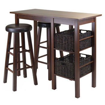 Winsome Wood Egan 5pc Breakfast Table with 2 Baskets and 2 Swivel Seat PVC Stools in Antique Walnut / Chocolate