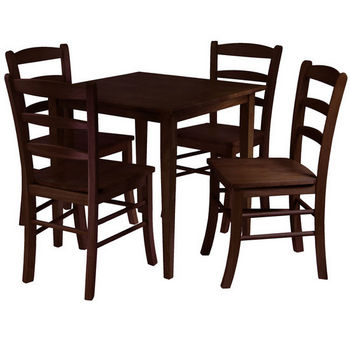 Winsome Wood Groveland 5 Pc. Dining Set, Square Table With 4 Chairs,  Antique Walnut