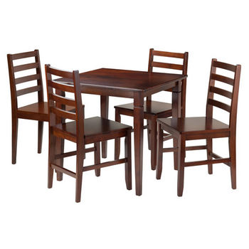 Winsome Wood Kingsgate 5-Pc Dining Table with 4 Hamilton Ladder Back Chairs in Walnut