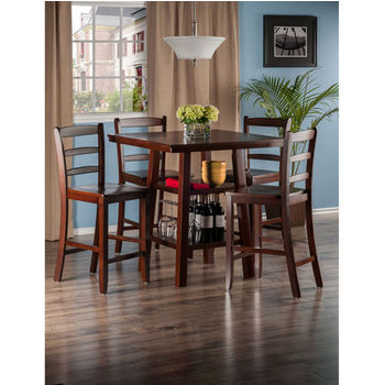 "Winsome Wood Orlando Collection 5-Piece Set High Table, 2 Shelves with 4 Ladder Back Stools in Walnut, 33-7/8"" W x 33-7/8"" D x 36-1/16"" H"