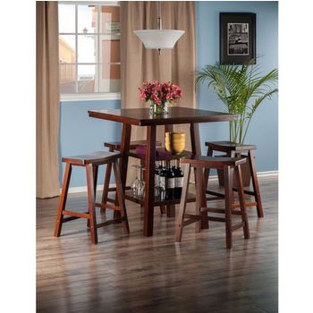"Winsome Wood Orlando Collection 5-Piece Set High Table, 2 Shelves with 4 Saddle Seat Stools in Walnut, 33-7/8"" W x 33-7/8"" D x 36-1/16"" H"